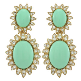 Ciner for Sophie Sea Green Cabochon Earrings