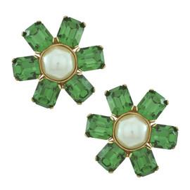Ciner for Sophie Emerald Pearl Centre Flower Earrings