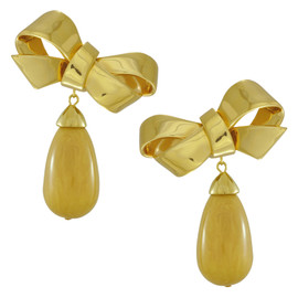 Ciner for Sophie Gold Bow Drop Earrings
