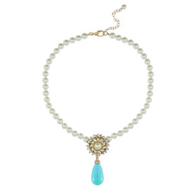 Ciner for Sophie Aqua Blue Pearl Flower Necklace
