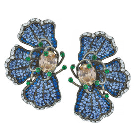 Siman Tu Three Petal Sapphire Earrings