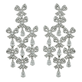 Siman Tu Crystal Bow Chandelier Earrings