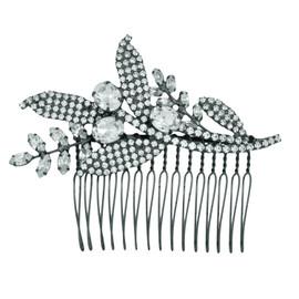 Jennifer Behr Isa Crystal Gunmetal Comb