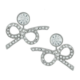 Kenneth Jay Lane Silver Crystal Bow Ear Jackets