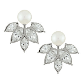 Kenneth Jay Lane Pearl Crystal Ear Jackets