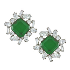 Kenneth Jay Lane Emerald Baguette Earrings