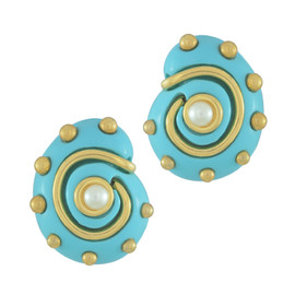 Kenneth Jay Lane Turquoise Shell Earrings