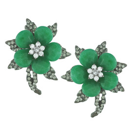 Siman Tu Ornate Emerald Flower Earrings