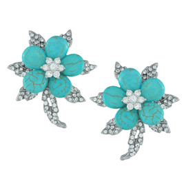 Siman Tu Ornate Turquoise Flower Earrings