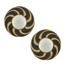 Vintage Vogue Bijoux Monochrome Enamel Button Earrings