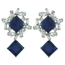 Kenneth Jay Lane Sapphire Baguette Drop Earrings