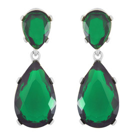 Kenneth Jay Lane Emerald Silver Earrings
