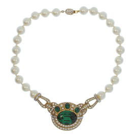 Ciner Large Emerald Crystal Pearl Necklace