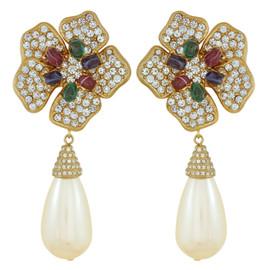 Ciner Multi Color Flower Pearl Drop Earrings