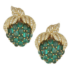 Ciner Emerald Cabhochon Grapes Earrings
