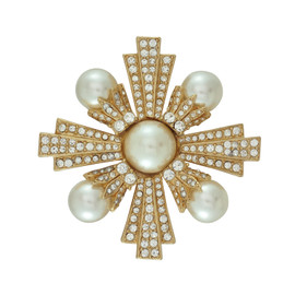 Ciner Art Deco Pearl Crystal Brooch