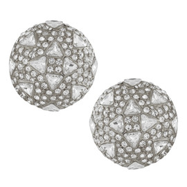 Ciner Crystal Round Button Earrings
