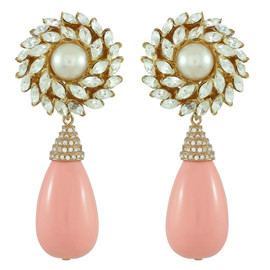 Ciner for Sophie Bellini Flower Drop Earrings