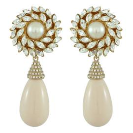 Ciner for Sophie Pale Flower Drop Earrings