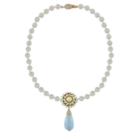 Ciner for Sophie Pale Blue Flower Drop Necklace