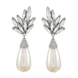 Ciner Silver Crystal Leaf Pearl Drop Earrings