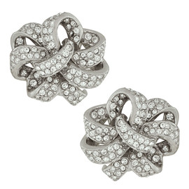 Ciner Silver Crystal Flower Earrings