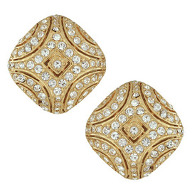 Ciner Art Deco Gold Crystal Earrings
