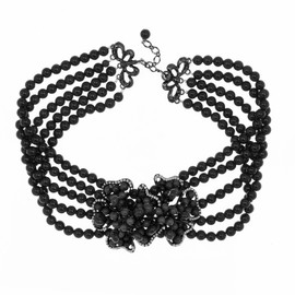 Siman Tu Five Strand Black Onyx Flower Choker