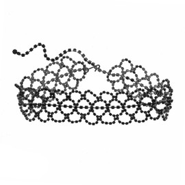 Kenneth Jay Lane Gunmetal Jet Lace Choker