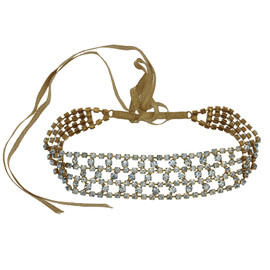 Jennifer Behr Crystal Gold Clara Choker and Headwrap