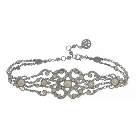 Ben-Amun Pearl Crystal Ornate Choker Necklace
