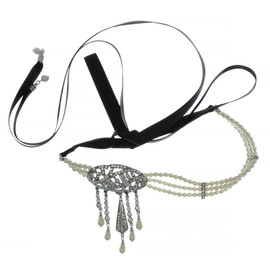 Ben-Amun Art Deco Drop Headpiece and Choker Necklace