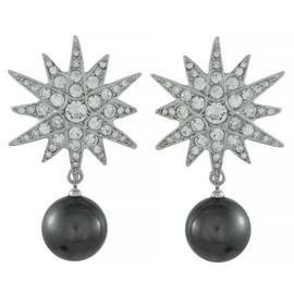 Kenneth Jay Lane Star Pearl Drop Earrings