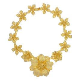 Kenneth Jay Lane Graduated Satin Gold Flower Necklace