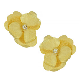 Kenneth Jay Lane Satin Textured Flower Earrings