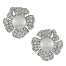 Kenneth Jay Lane Silver Crystal Pearl Mini Flower Earrings