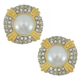 Kenneth Jay Lane Pearl Crystal Button Earrings
