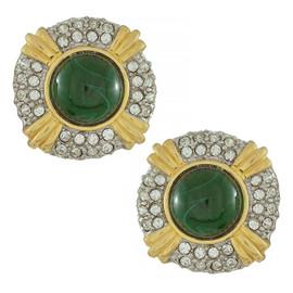 Kenneth Jay Lane Emerald Crystal Button Earrings