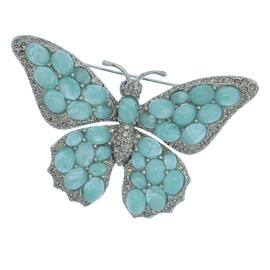 Ciner Aqua Butterfly Brooch