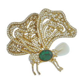Ciner Butterfly Emerald Pearl Brooch