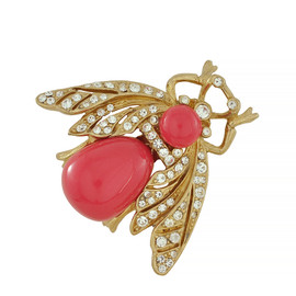 Ciner Coral Gold Bee Brooch