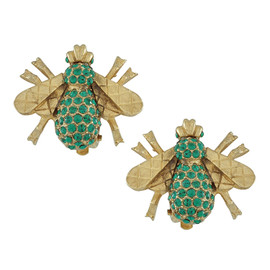 Ciner Emerald Green Bee Earrings