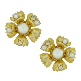 Miriam Haskell Small Gold Flower Earrings