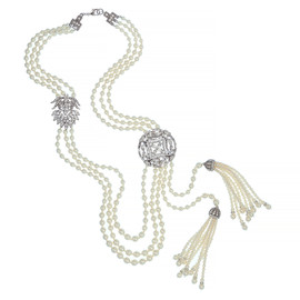 Ben-Amun Art Deco Crystal Pearl Necklace