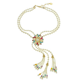 Ben-Amun Regal Pearl Tassel Choker Necklace