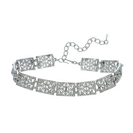 Kenneth Jay Lane Wide Deco Crystal Link Choker