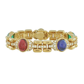 Ciner Multicolored Cabochon Gold Crystal Bracelet