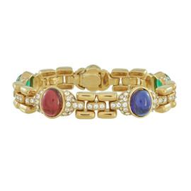 Ciner Multicolored Cabochon Gold Crystal Bracelet