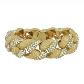 Ciner Gold Crystal Braided Bracelet