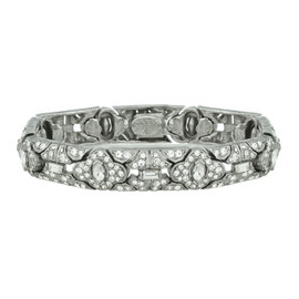 Ciner Art Deco Silver Crystal Bracelet